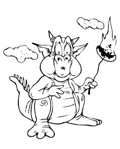 Cartoon Dragon Toasting Marshmallows Coloring Page