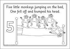 Five Little Monkeys Jumping On The Bed Activities Sketch