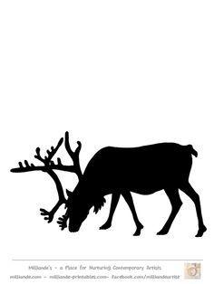 Free Reindeer Clipart , Reindeer Silhouette Template at
