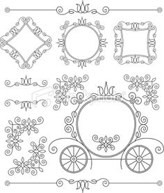 set vintage ornaments and frames Royalty Free Stock Vector