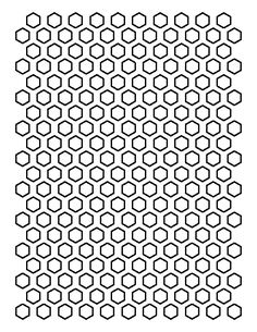 1.5 inch hexagon pattern. Use the printable outline for