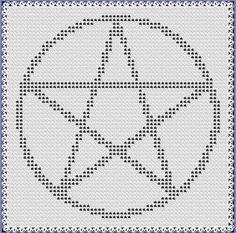 Filet Crochet: Crochet Filet Pentagram Free Pattern Chart