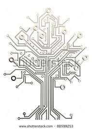 Circuit board tree symbol poster vector by macrovector on