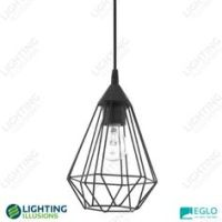 Black Eglo Razoni Metal Caged Shade With Frosted Glass ...