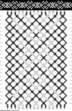 Patrón para hacer pulsera de hilo con dibujos de calaveras