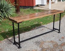 Live Edge Oak Console With Iron Base Console Tables
