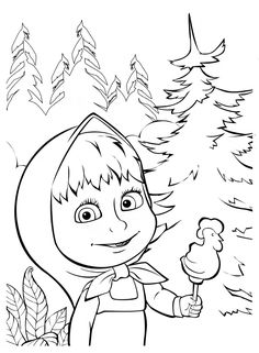 Masha and Bear apple coloring pages for kids printable