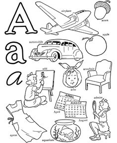 Alphabet Coloring Pages Printable Apple Airplane And
