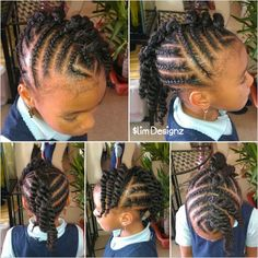 Little Girls Braided Mohawk With Beads Children Natural Hair