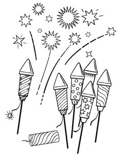 Fireworks pattern. Use the printable outline for crafts