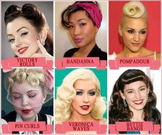 Pinup Rockabilly Makeup And Hair With Red Lips And Bandana Hair
