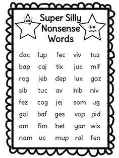 free! Nonsense Word Fluency Freebie (NSF) DIBELS Practice