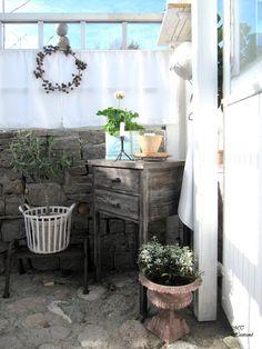 Simply Faux Gazebo Outside Patio Garden Whitewashed Cottage
