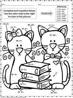 Color by numbers, Math worksheets and Worksheets on Pinterest