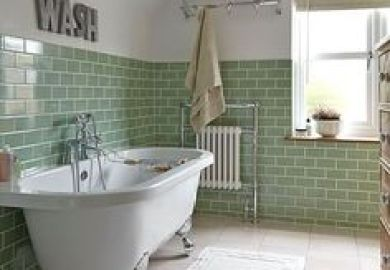 Green Tiled Bathroom With Rolltop Bath Bathroom