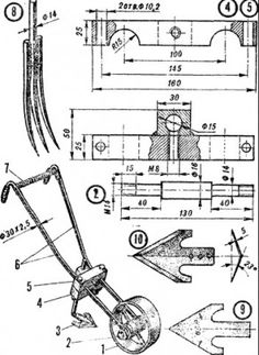 A home-built no-till seed drill, well illustrated on the