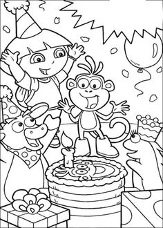 Dora And Boots Want To Walk Across The Bridge Coloring