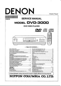 Denon DVD-558 , DVD-1740 , Service Manual version 3 * PDF