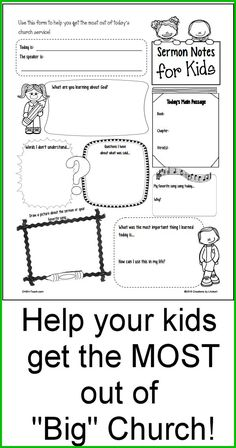 FREE Printable Sermon Notes for Kids! Several different