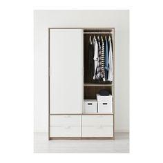 TRYSIL Wardrobe w sliding doors4 drawers  whitelight
