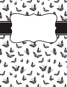 Free printable black and white feather binder cover