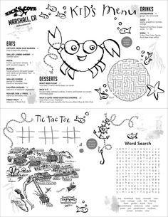Hand Drawn Illustrations, Kids / Childrens Food Menu