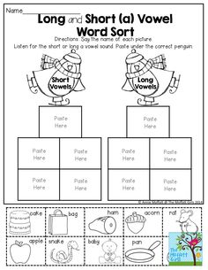 Sorting Sounds (long and short vowels) cut and paste