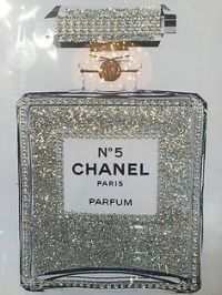CHANEL no 5 PERFUME BLING GLITTER PRINT IN SILVER PICTURE ...