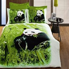 pink panda bedding set