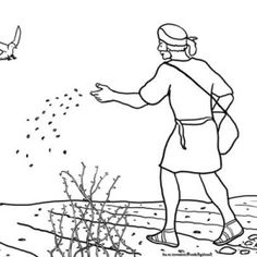 Farmer Planting Seeds Clip Art Sketch Coloring Page
