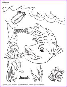 Historinha bíblica de Jonas e o grande peixe para colorir