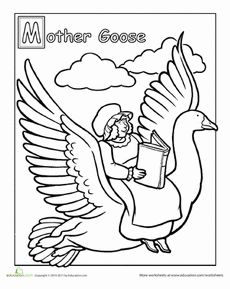 Free Printable Coloring Page...Mother Goose, Nursery