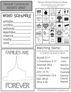 General Conference Kid's activity and packet. Free