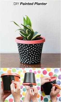 DIY Paint Dipped Ceramic Pots Craft & DIY Pinterest A House