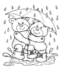 Girl and Umbrella coloring page for kids, spring coloring