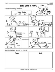 Push and Pull Picture Sort, Motion, Kindergarten