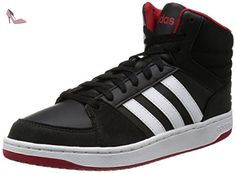 adidas baskets neo vlhoops mid homme synthetique noir blanc noir