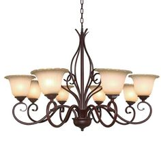 Lnc 8 Lights Traditional Antique Finish Chandeliers Glass Shade Iron Lighting