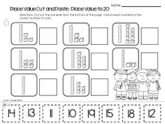 Match Numbers to Objects Worksheets, place value