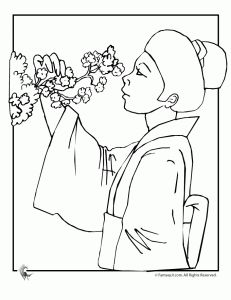 This coloring page for kids features a black and white