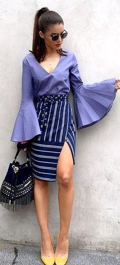 Bell Sleeve Purple Top + Striped Skirt                                                                             Source
