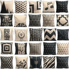 Vintage Cotton Owl Linen Pillow Case Sofa Waist Throw Cushion