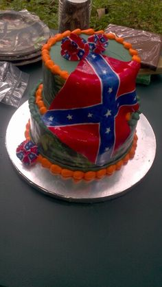1000 ideas about Rebel Flag Cake on Pinterest  Flag Cake Cakes and Hunting Cakes