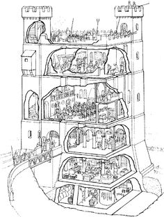 An interior illustration of a late Medieval Irish tower