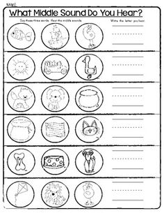 Beginning Middle And Ending Sounds Worksheets For