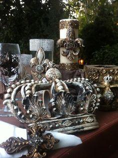 Hoem Decor Candle Swarovski Crown Decorative Pillar Candle Home