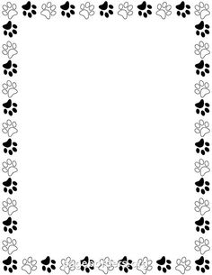Printable bear paw print border. Use the border in