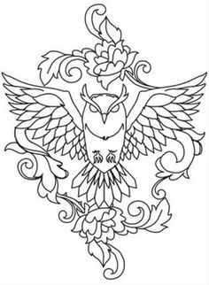 Minimal lines make this owl design haunting. Downloads as