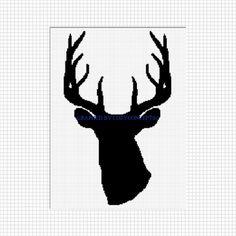 Deer buck head stag horn crochet afghan pattern graph