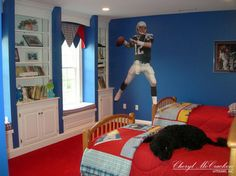 New England Patriots Themed Boys Room Traditional Kids
